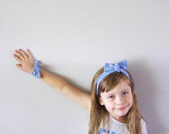 Headband and bracelet matching set, blue polka dot soft adjustable- headache free headband - cotton headband-very stretchy