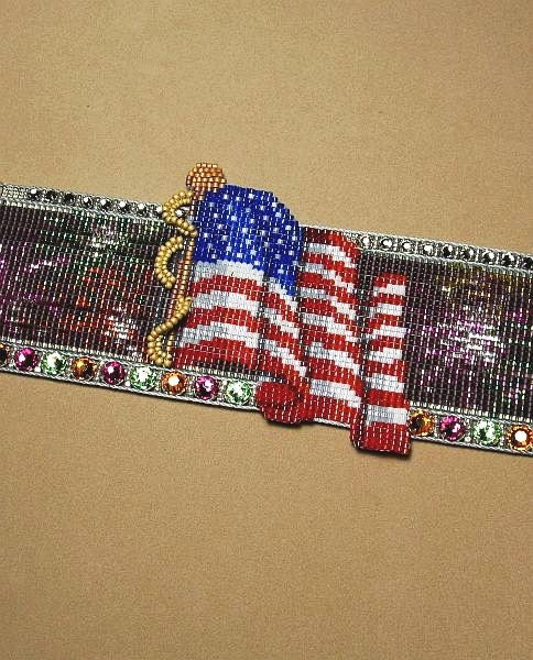 July 4th celebration bead loom cuff pattern for Patriotic beaded jewelry patterns