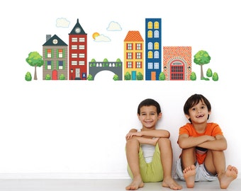 Busy Transportation Town Wall Decals, Removable & Reusable Eco-friendly matte fabric wall decal stickers