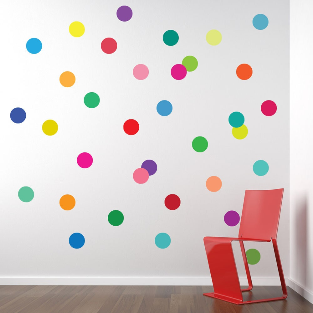 Wall decals 36 confetti rainbow of colors polka dots for Dots design apartment 8