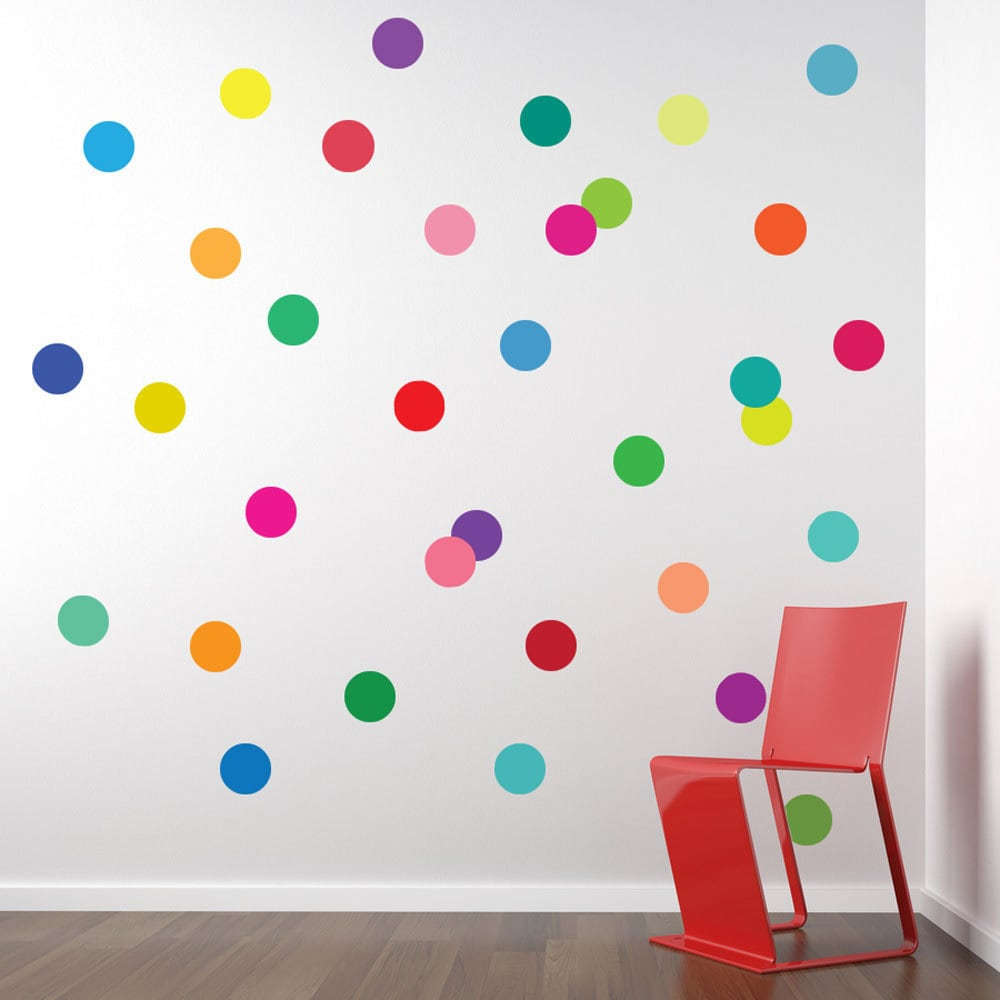 wall decals 36 confetti rainbow of colors polka dots. Black Bedroom Furniture Sets. Home Design Ideas