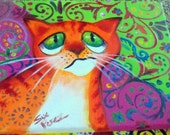 original art  painting colorful abstract cat frown 8x10 canvas