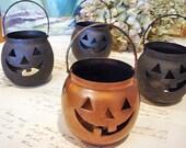 4 metal Jack-o-lanterns - for crafting - Halloween - No 15