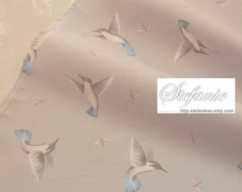 Birds Collection, Lovely Blue Tail Flying Bird Birds On Gray-Japanese Cotton Fabric (Fat Quarter)