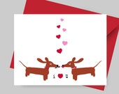 Dachshund Valentine Card - Doxies in Love Anniversary Card with Envelope and Sticker Love You Card