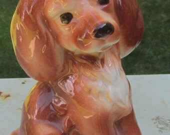 vintage puppy dog ceramic figurine Royal Copley sweet brown furry mid century