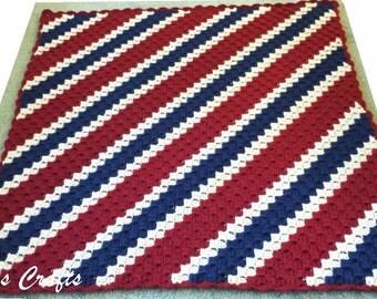 Diagonally Crocheted Throw Size Afghan Burgundy Off-White Navy Blue