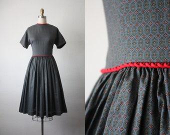 50s dress / 1950s midcentury print dress