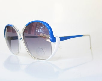 SALE 1970s Oversized Sunglasses Blue White Sunnies Huge Womens Ladies Festival Summer Cerulean Sea Retro Vintage Indie Hipster Chic 70s