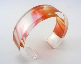 Peach Pink Bangle, Abstract Flower Pattern Tulip Petals, Spring Flowers