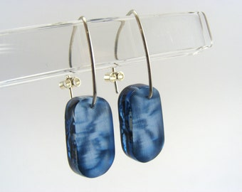 Blue Drop Earrings - Blue Small Earrings - Perspex Earrings - Floral Pattern Drops - Handmade Dangle Earings - Everyday Earrings
