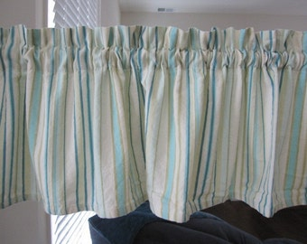Curtain Valance, Turquoise Striped Cotton Curtain Valance 72 inches wide