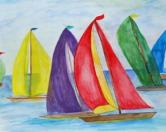 Colorful sailboats pillow case from my art