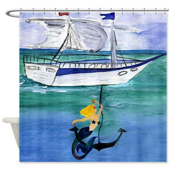 Anchor Blond Mermaid Art Shower Curtain by maremade on Etsy
