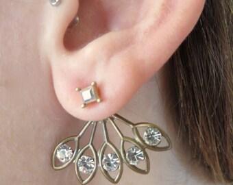 Bronze clear Gem Brass Sunburst Ear Jackets Earring Stud Sun Burst Post 2-Piece Drop Split Front Back In Out Jewelry