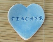 Blue Heart Shaped Bowl - End of Year Teacher Gift - Trinket Dish Paper Clip Holder Desk Accessory