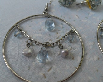 Lot 2 pair Earrings Family Jewelry from Mom's Collection Silver and Light Blue