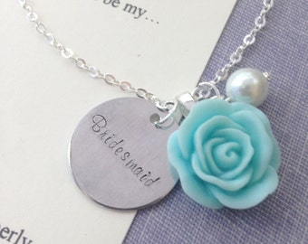 Rose, handstamped, Bridesmaid necklace. Comes with FREE personalized Notecard, Jewelry Box.