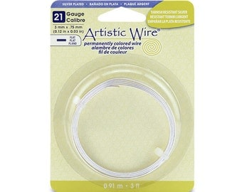 21GA Artistic Wire 3mm Wide Flat Wire Silver Plated 3ft