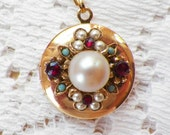 Vintage Jewelry Embellished Round Locket OOAK with Faux Pearls, Ruby Red Rhinestones, Aqua Blue Balls, Gold Tone Metal