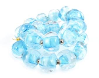 Sky Blue Lampwork Pebbles Beads - Handmade Lampwork Beads - Set of 20 Beads - Summer, Fresh, Water, Ocean, Cold, Nugget, Aqua - MadeByFire