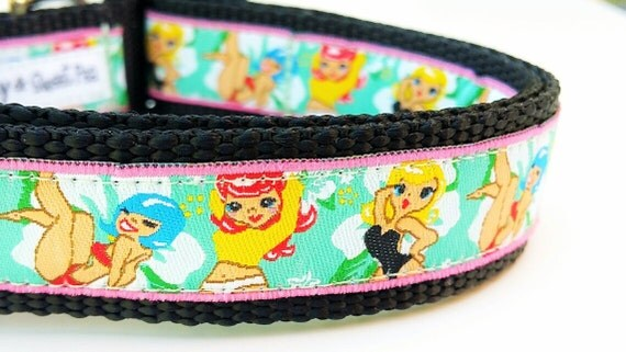 The Pin Up Puppy - Dog Collar / Pet Accessories / Handmade / Pet Lover Gift / Large Dog / Adjustable