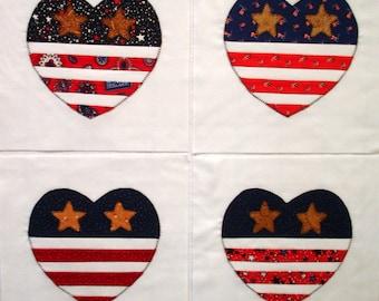 Appliqued Quilt Blocks Patriotic Hearts