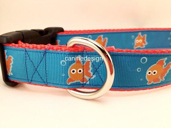 Dog collar goldfish fish 1 inch wide adjustable 15 22 for Fish dog collar