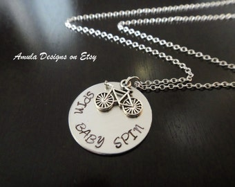 Handstamped Spin Baby Spin Bicycle Bike Riding Biking Cycling Necklace