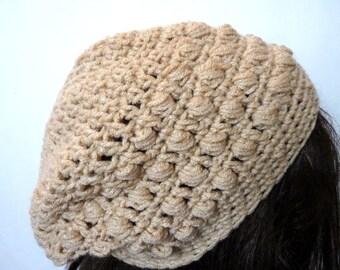 Crochet Slouchy Hat in Beige for Women and Teens, Rasta, Beanie, Skullcap, Tam