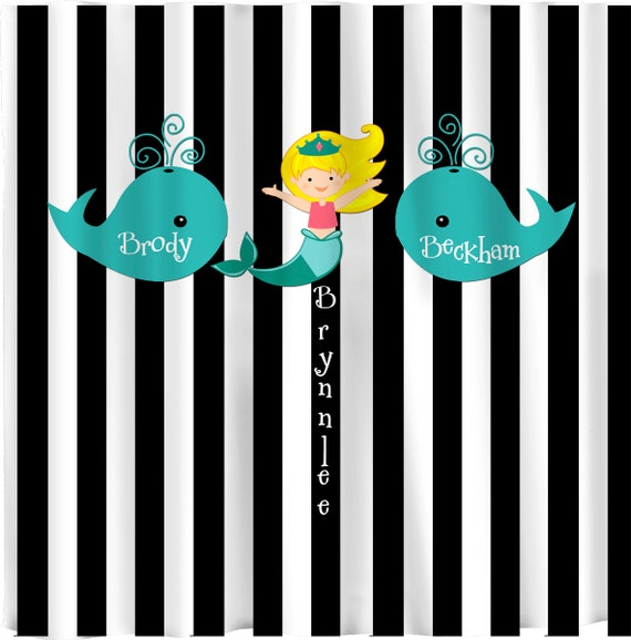 Whales and Mermaid Shared Shower Curtain -Black and White Bold Stripe ...
