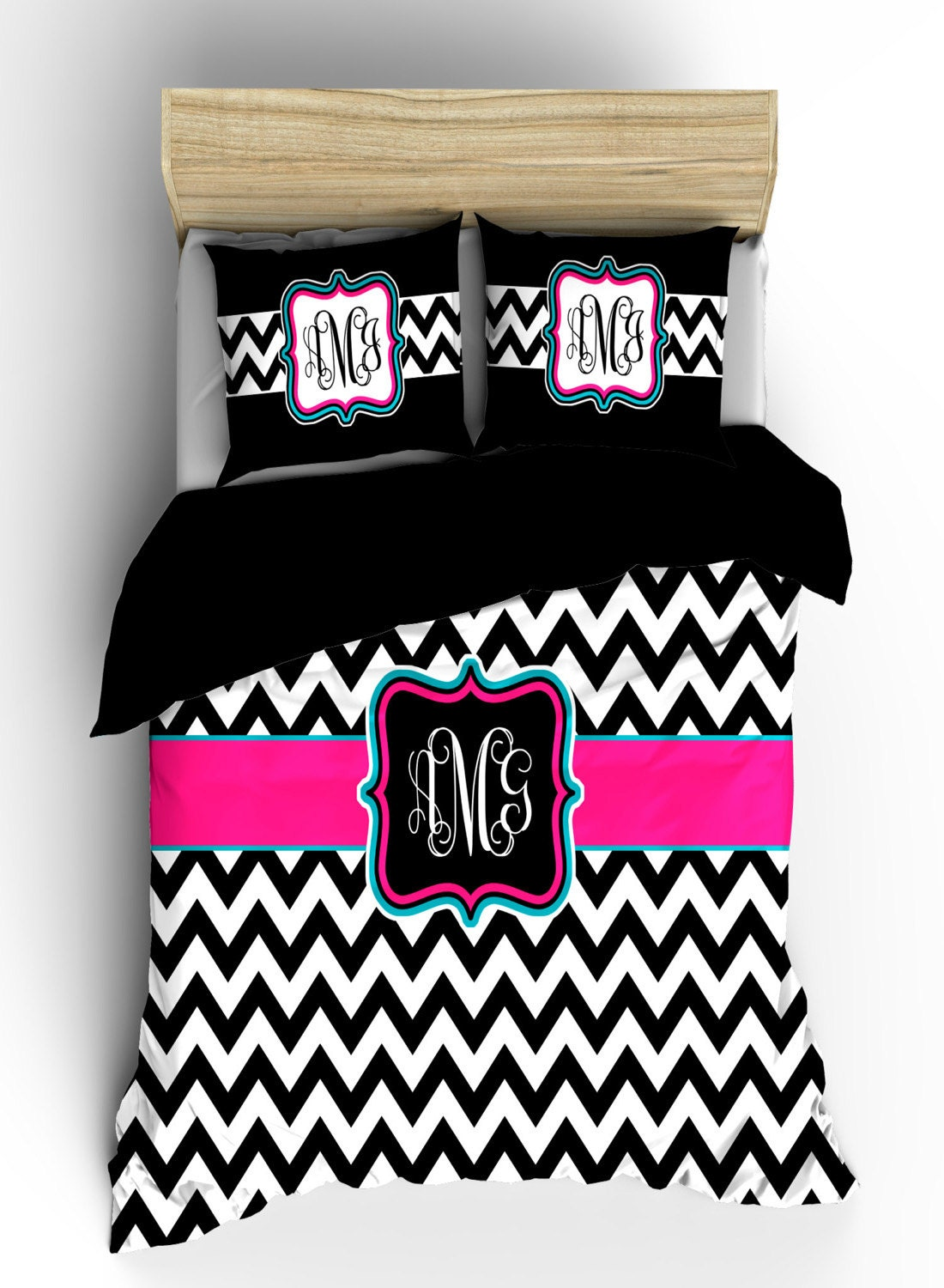 Personalized custom chevron bedding black and white by redbeauty