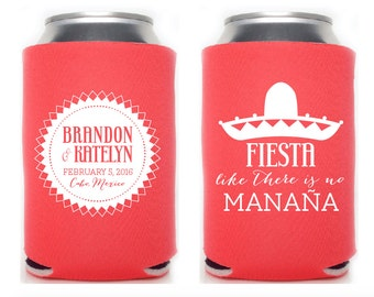 Custom Wedding Collapsible Can Coolers - Fiesta Like There is No Mañana