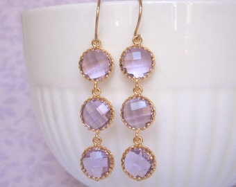 Lavender Earrings, Triple Glass, Gold Earrings, Bridesmaid Earrings, Wedding Jewelry, Bridal Jewelry