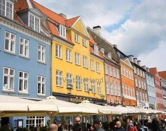 Copenhagen photo / Digital download / painted storefronts / Nyhavn / rainbow blue yellow / Photograph / Original art download / Home Decor