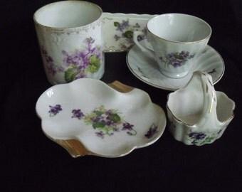 6 Pieces Vintage Violets Ceramics-Condensed Milk Holder, Cup & Saucer, Tray, Lefton Mini Basket, Ashtray
