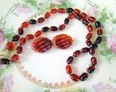 Vintage Beaded Necklace and earrings set Faux toritise shell rootbeer beads