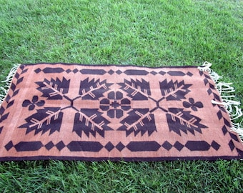 Vintage Southwest Hand Woven Wool Rug Fringe Big Flowers and Leaves Brown/Tan