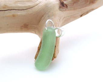 Sterling Silver Pendant with Seafoam Beach Glass/Sea Glass