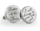 Father of the bride cuff link - father of the bride gift- engraved stainless steel cuff links - personalized wedding