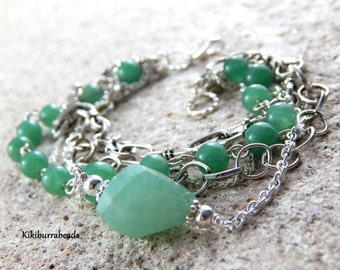 Gemstone Bracelet , Green Jade And Aventurine, Multi Strand Silver Bracelet