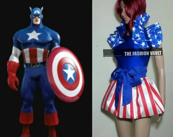 Reversible Uncle Sam Clown spaulding Captain America Wonder Woman Cosplay  Shoulder Collar Bolero wrap burlesque set