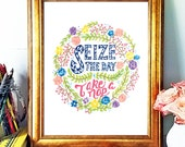 Inspirational Quote,Seize the Day, Naps, Hand Lettered Art Print, Floral Illustration, Bright Art, Motivational Wall Decor, Wall Lettering
