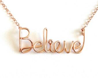 Believe Necklace. Rose Gold Believe Necklace. Pink Rose Gold Filled Believe Necklace