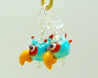 Parrot Earrings - Handmade Lampwork Bead Creation - SRA