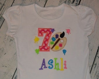 PERSONALIZED Paint Party Birthday Shirt  Monogrammed 1, 2, 3, 4, 5, 6, 7, 8  birthday
