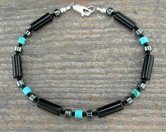 Unisex or Mens Bracelet in Black Onyx with Hematite & Turquoise Accents in Small to X-Large Sizes - 7, 8, 9, or 10 inches