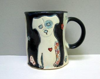 Dog Mug, Large, Black and White Bad Dog Mug with Colorful Skulls, Flowers, and Tattoos, Big Coffee Mug or Big Tea Mug, Animal Pottery
