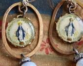Spiritual Mother Mary handmade earrings. one of a kind.