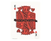 King of Hearts with Banner Illustrated Art Print